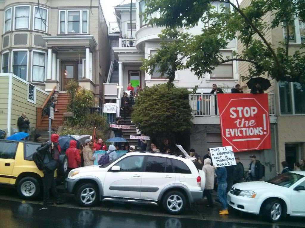 A protest against gentrification in the Mission in 2015.