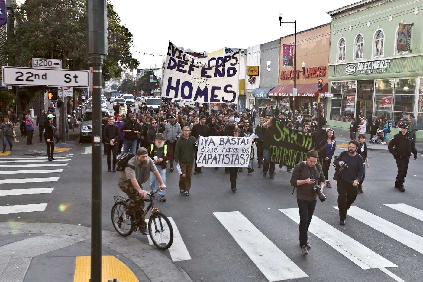 A protest against gentrification in the Mission district on January 1, 2014.